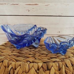 2 glass seashell candy vanity dishes cobalt